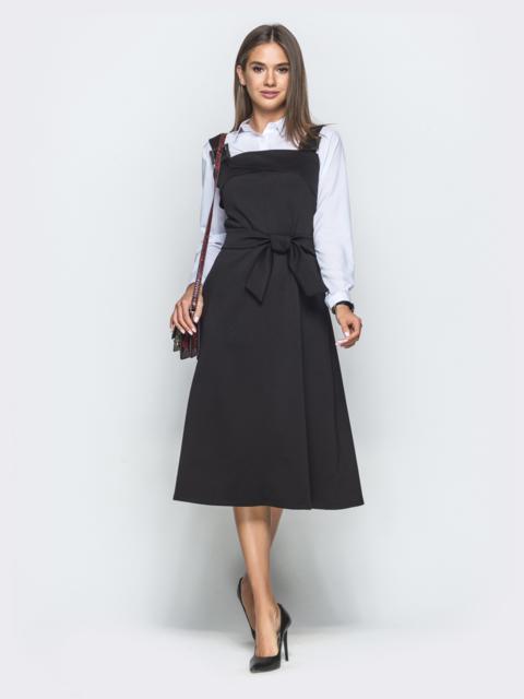 Трикотажный сарафан чёрного цвета с карманами - 39940, фото 1 – интернет-магазин Dressa