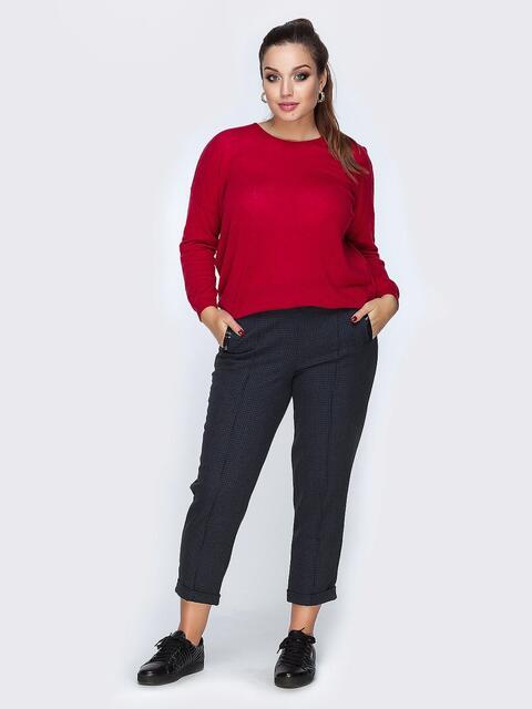 Укороченные брюки тёмно-синего цвета с подворотами - 19150, фото 1 – интернет-магазин Dressa