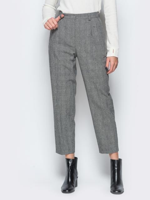 Укороченные брюки в серую клетку с высокой посадкой - 17665, фото 1 – интернет-магазин Dressa