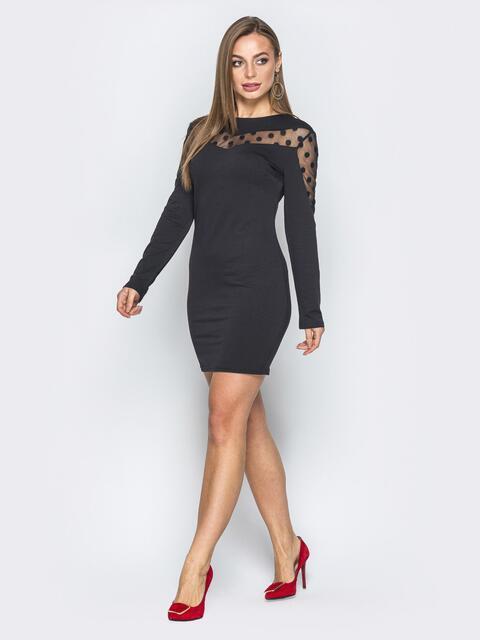 Черное платье-мини со вставками из фатина - 19228, фото 1 – интернет-магазин Dressa
