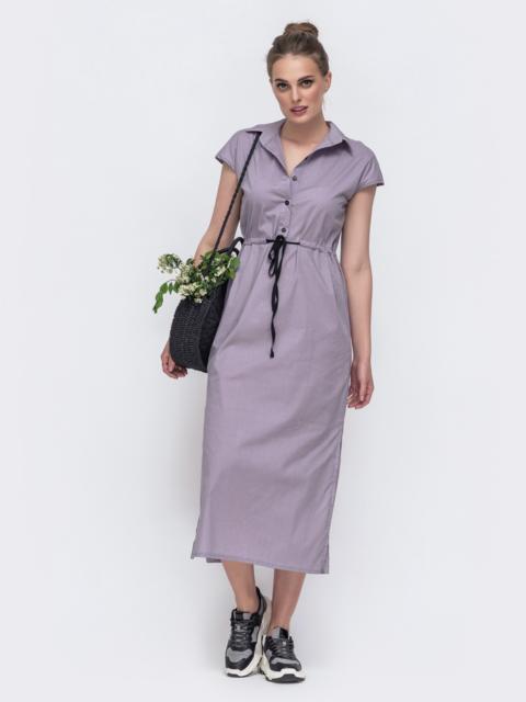Длинное платье с кулиской и разрезами по бокам серое 48167, фото 1