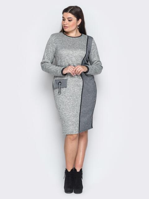 """Платье из трикотажа """"Ангора"""" с имитацией кармана серое 18362, фото 1"""