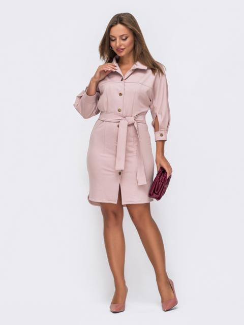 Платье-рубашка пудрового цвета с рукавом-реглан 50816, фото 1