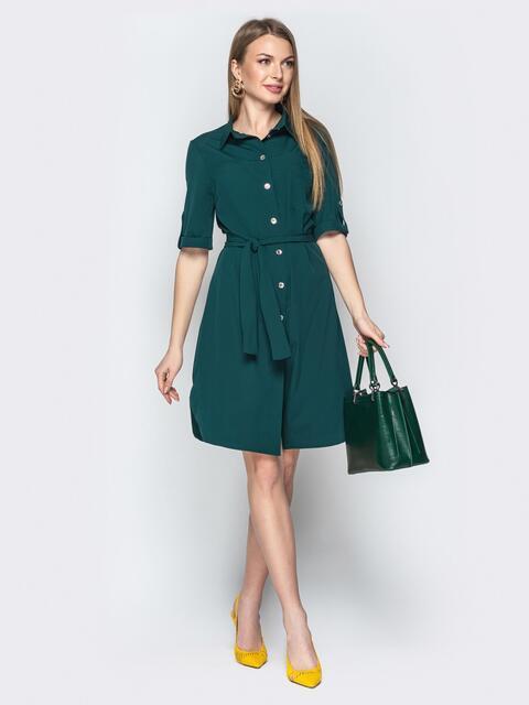 Платье-рубашка с поясом бутылка - 21146, фото 1 – интернет-магазин Dressa