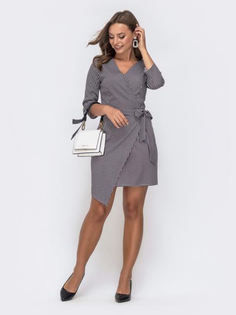 """Платье в """"гусиную лапку"""" на запах - 41261, фото 1 – интернет-магазин Dressa"""