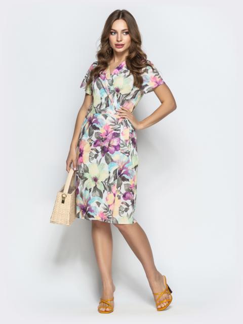 Принтованное платье с глубоким круглым вырезом белое - 21497, фото 1 – интернет-магазин Dressa