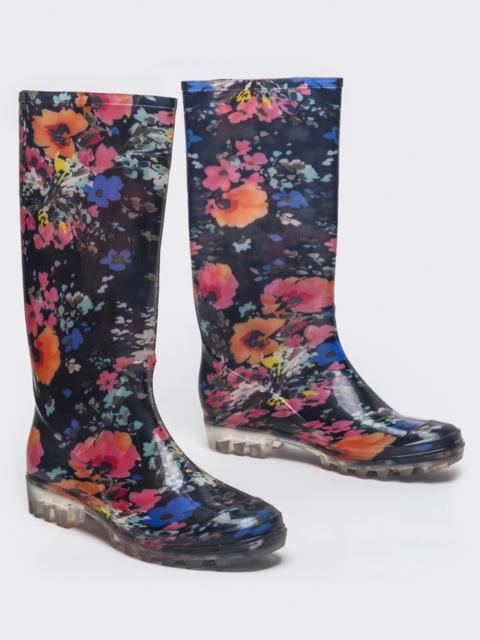Резиновые сапоги с цветочным узором чёрные 51388, фото 1