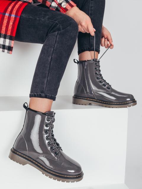 Зимние ботинки из эко-кожи серые 51376, фото 1