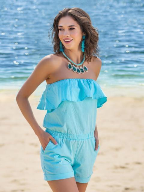 Голубой комбинезон-шорты с воланом по линии декольте - 38552, фото 1 – интернет-магазин Dressa