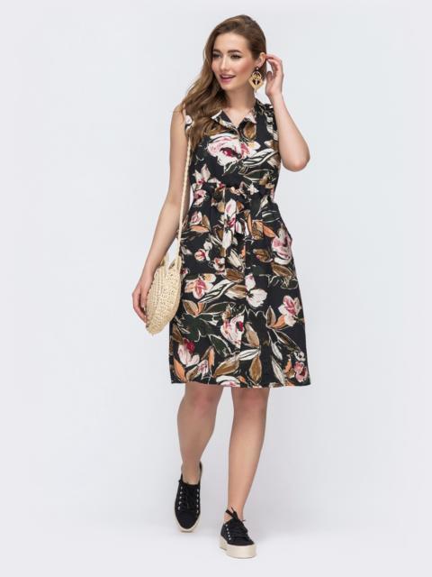 Платье с растительным принтом с кулиской по талии  48241, фото 1