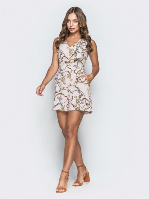 Принтованный комбинезон с шортами и V-вырезом пудровый - 38505, фото 1 – интернет-магазин Dressa