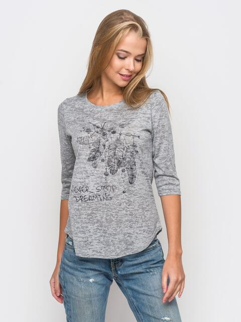 Серая футболка с рукавами 3/4 и принтом на полочке - 22127, фото 1 – интернет-магазин Dressa