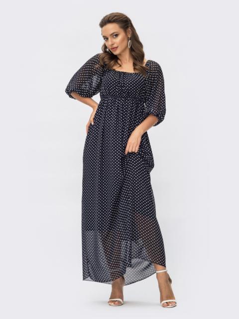 Шифоновое платье-макси в горох с завышенной талией темно-синее 54378, фото 1