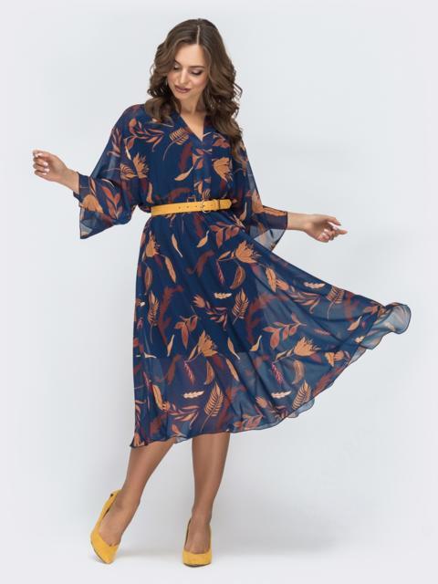 Шифоновое платье с принтом и трикотажной подкладкой тёмно-синее 45050, фото 1