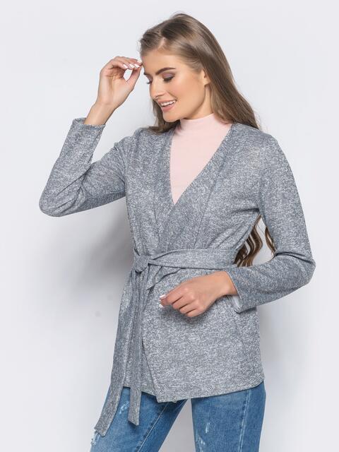 Трикотажный кардиган серого цвета с поясом в комплекте - 16355, фото 1 – интернет-магазин Dressa