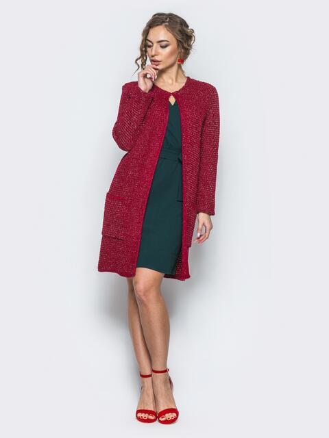 Вязаный кардиган с люрексом красный - 12842, фото 1 – интернет-магазин Dressa