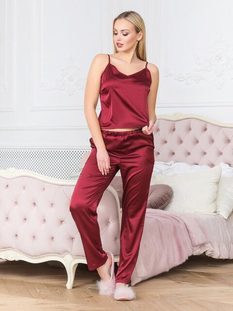 Бордовая пижама с топом на бретелях и брюками - 18915, фото 1 – интернет-магазин Dressa