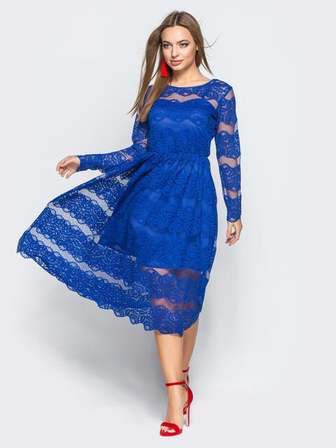 Коктейльное платье синего цвета из гипюра - 11245, фото 1 – интернет-магазин Dressa