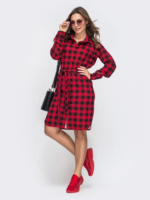 красное платье-рубашка в клетку - 45786, фото 1 – интернет-магазин Dressa