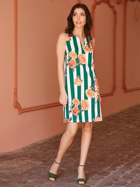 Платье прямого кроя в широкую полосу с цветами - 11620, фото 3 – интернет-магазин Dressa