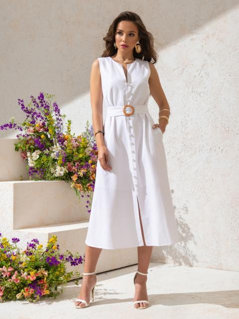 Приталенное платье из белого льна с разрезом спереди - 49155, фото 1 – интернет-магазин Dressa