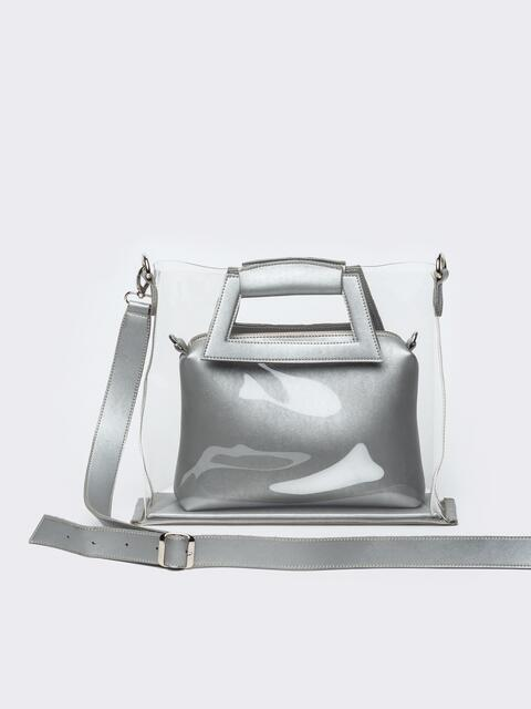 7d863b0e833f Прозрачная сумка со съемной косметичкой серебристого цвета - 22100, фото 1  – интернет-магазин