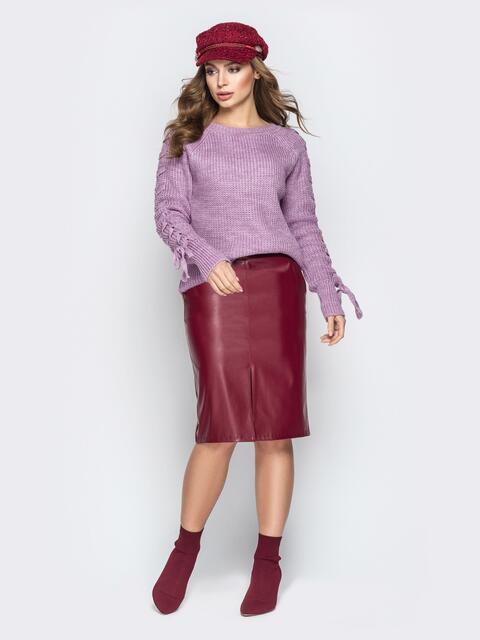 Сиреневый свитер с рукавами-реглан и прошитыми косами - 20137, фото 1 – интернет-магазин Dressa