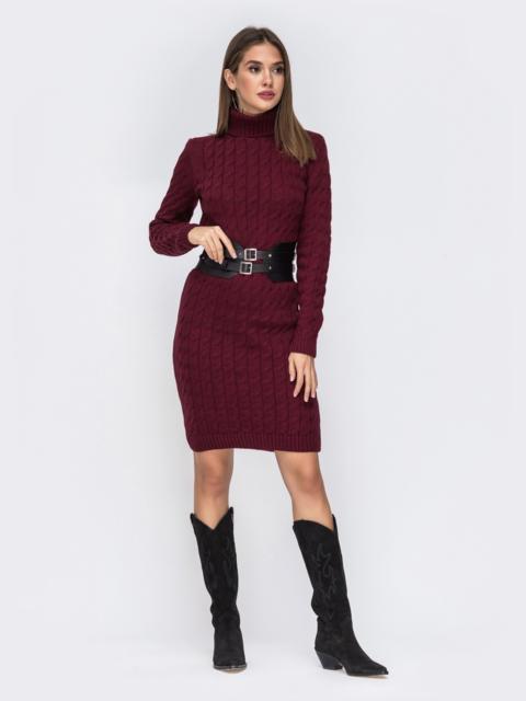 Вязаное платье-миди с косами бордовое - 42203, фото 1 – интернет-магазин Dressa