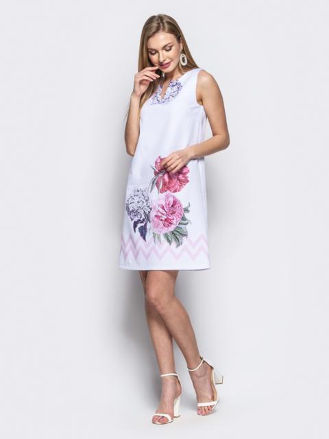 """Белое платье-трапеция с принтом """"пионы"""" 21673, фото 1"""