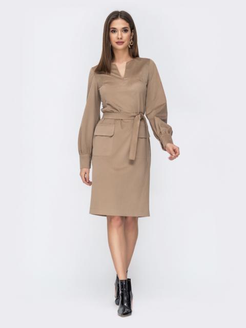 Бежевое платье из вельвета с накладными карманами 44237, фото 1