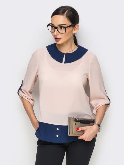 Блузка с рукавами 3/4 и шлевками на них 12330, фото 1