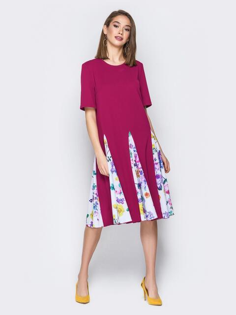 Бордовое платье с принтованными клиньевыми вставками - 20045, фото 1 – интернет-магазин Dressa