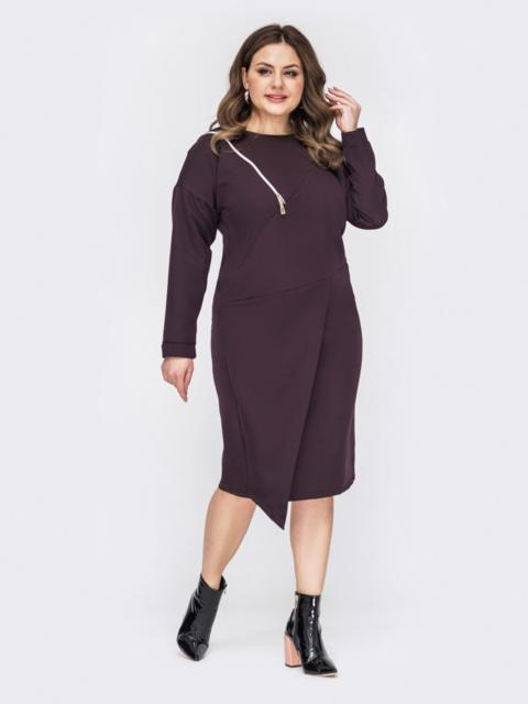 Коричневое платье батал с декоративной молнией 53197, фото 1