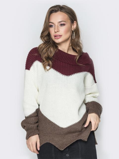 Коричневый свитер oversize с V-образными вставками - 20124, фото 1 – интернет-магазин Dressa