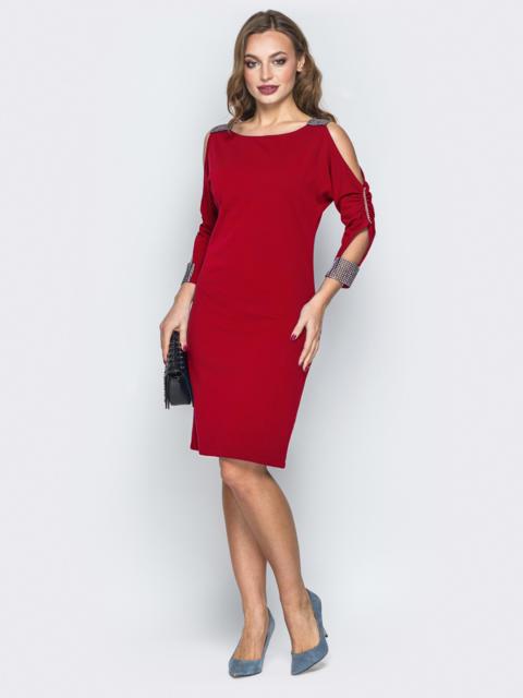 Красное платье со стразами и вырезами на рукавах 50886, фото 1