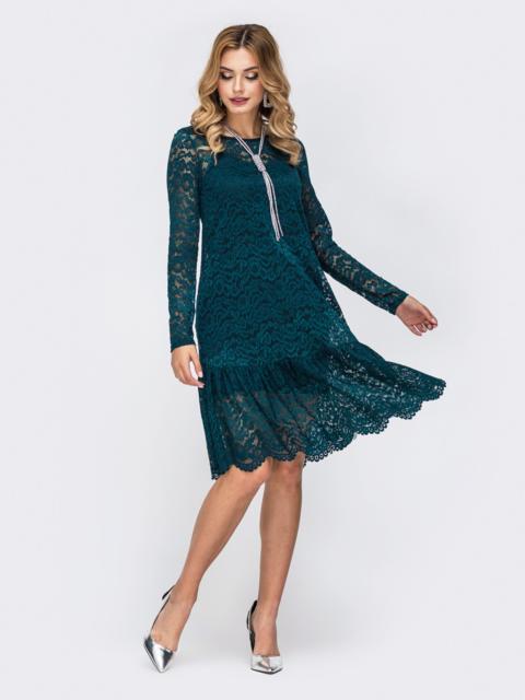 Платье из гипюра с воланом по низу зелёное 42888, фото 1