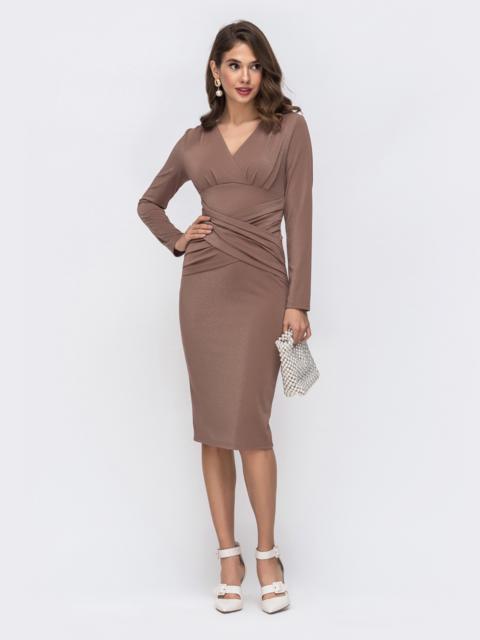 Платье из люрекса с драпировкой по лифу бежевое 42883, фото 1