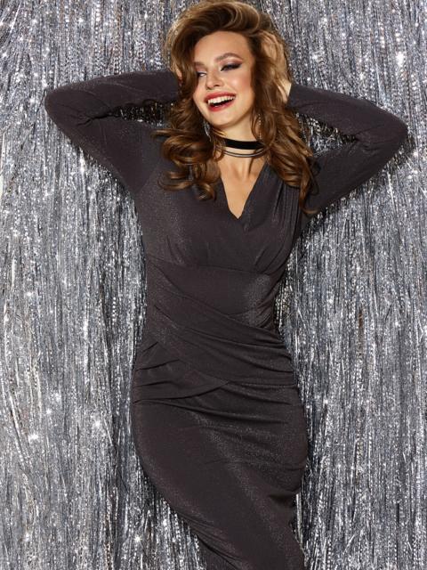 Платье из люрекса с драпировкой по лифу чёрное 42885, фото 1