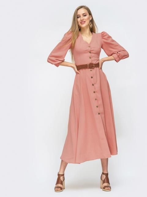 Платье на пуговицах с объёмными рукавами розовое - 45717, фото 1 – интернет-магазин Dressa