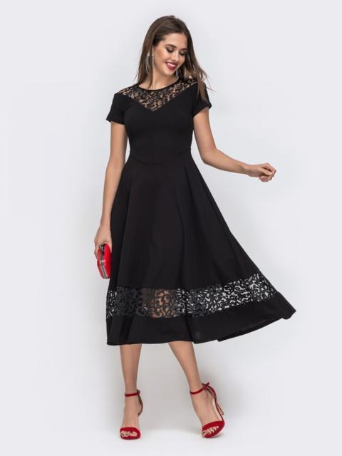 Платье с расклешенной юбкой и вставками из кружева чёрное 42874, фото 1