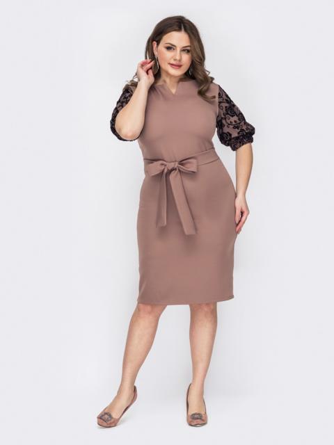 Пудровое платье батал с кружевными рукавами 53195, фото 1