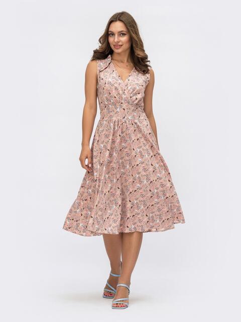 Расклешенное платье розового цвета в цветочный принт  54170, фото 1