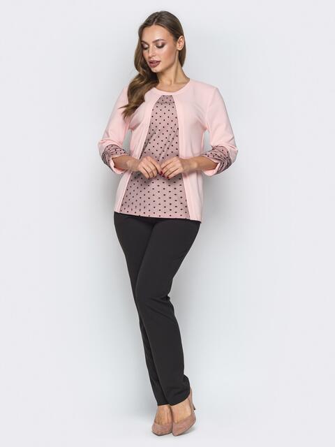 Розовый комплект с фатиновыми вставками на кофте и брюками - 19403, фото 1 – интернет-магазин Dressa