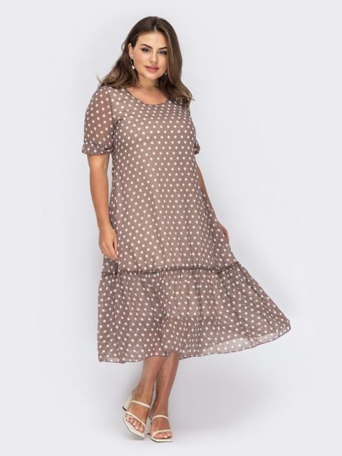 Шифоновое платье в горох коричневое 54001, фото 1