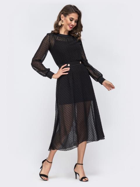 Шифоновое платье в горох с комбинацией чёрное 42877, фото 1
