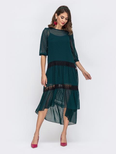 Тёмно-зелёное платье из шифона в горох с удлиненной спинкой 42870, фото 1