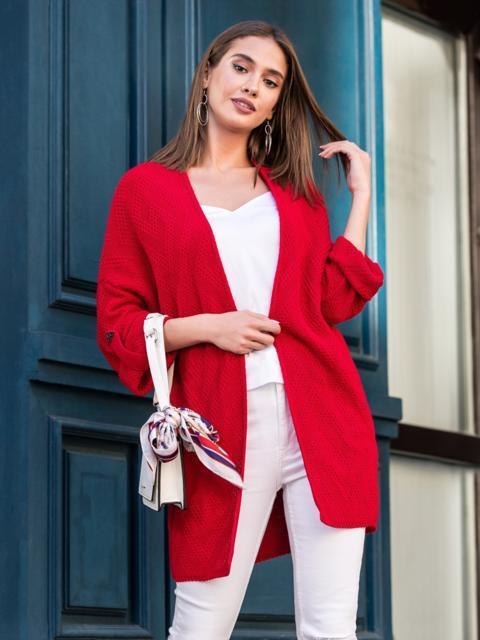 Вязаный кардиган oversize красного цвета со шлевками - 38747, фото 1 – интернет-магазин Dressa