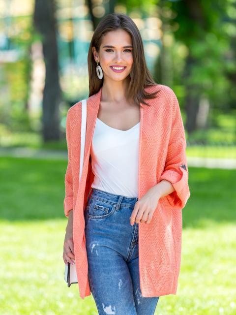 Вязаный кардиган oversize персикового цвета со шлевками - 38748, фото 1 – интернет-магазин Dressa