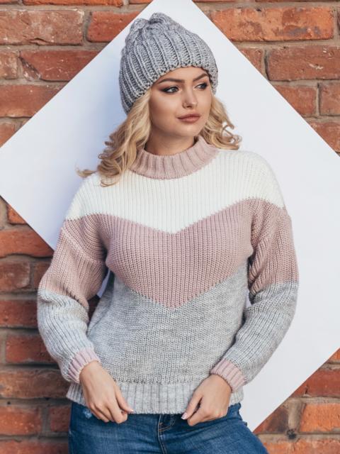 Вязаный свитер oversize с серо-розовыми полосами - 15978, фото 1 – интернет-магазин Dressa
