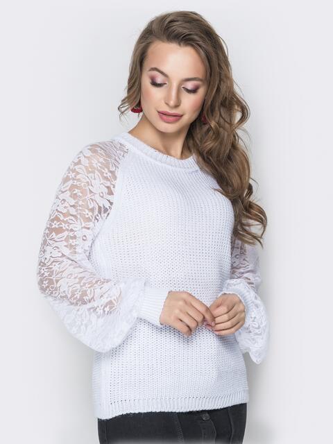 Белый свитер с рукавами-реглан из гипюра - 20128, фото 1 – интернет-магазин Dressa